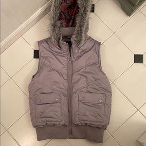 Dollhouse Grey Vest with Fur Hood